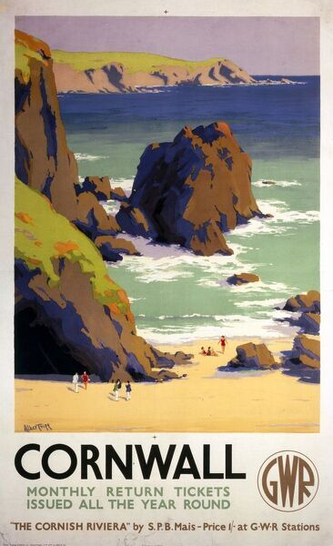 Poster produced for the Great Western Railway (GWR) to promote monthly return tickets to Cornwall