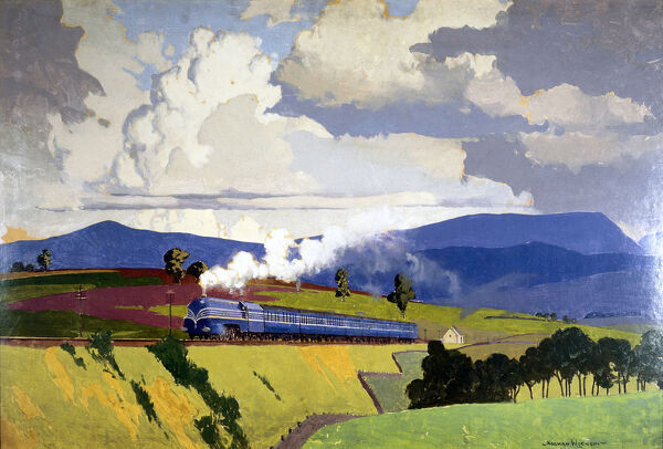 Oil painting by Norman Wilkinson (1878-1971), produced as artwork for a London Midland & Scottish Railway (LMS) poster, showing the LMS 'Coronation Scot' streamlined steam locomotive and train ascending Shap Fell in Cumbria
