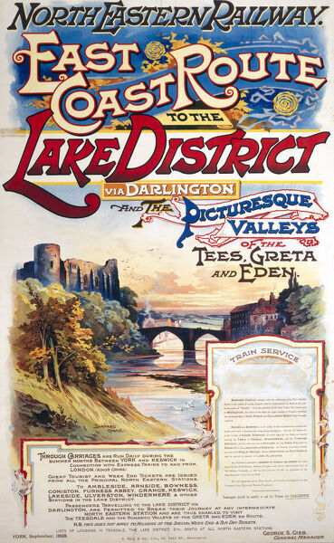Poster produced for the North Eastern Railway (NER), promoting rail travel to the Lake District via Darlington and the Tees, Greta and Eden valleys, showing a view of Barnard Castle in County Durham. Printed by A Reid & Co Ltd, 50 Grey Street