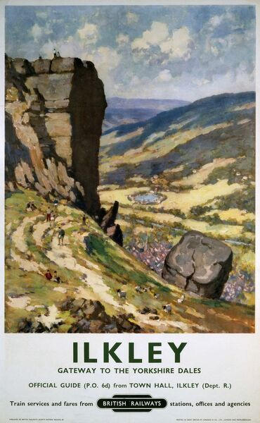 Poster produced for British Railways (BR) to promote rail travel to Ilkley, West Yorkshire, which is here promoted as the 'gateway to the Yorkshire Dales'