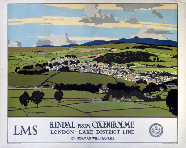London Midland & Scottish Railway poster advertising the London/Lake District Line. Artwork by Norman Wilkinson
