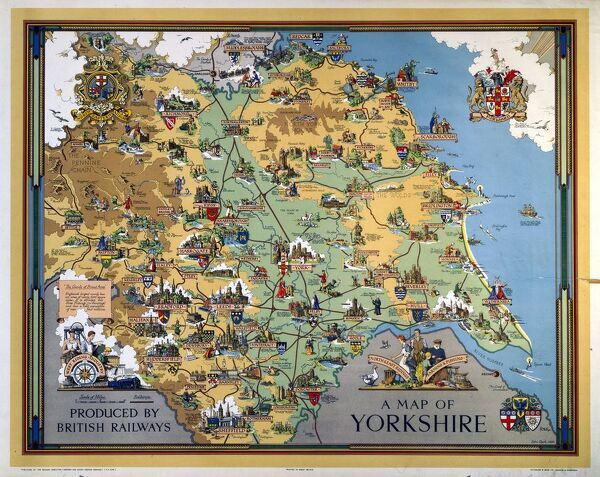 Poster produced for British Railways (BR) to promote rail travel to and within Yorkshire. The poster shows a pictorial map of the county, with points of interest indicated. Artwork by Estra Clark