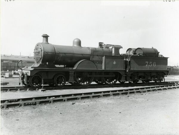 Midland Railway Class 3, 4-4-0 steam locomotive number 756. Built Derby in 1904 as 846; renumbered as 756 in 1907. Withdrawn in May 1949