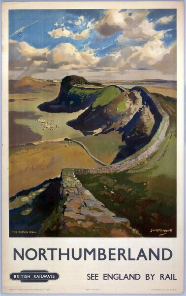 British Railways (Eastern Region) poster, 'The Roman Wall' by Jack Merriott, showing Hadrian's Wall. Printed by John Waddington Ltd, London