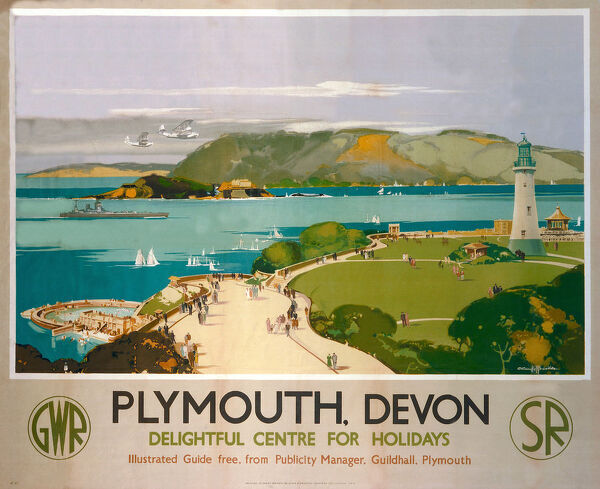 Poster produced for Great Western Railway (GWR) and Southern Railway (SR) to promote rail travel to Plymouth, Devon, which is described as a 'Delightful Centre for Holidays'