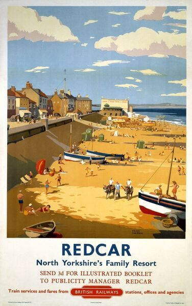 Poster produced for British Railways (BR) to promote rail travel to Redcar, North Yorkshire. The poster shows a view of the seaside with the promenade, beach and some boats on the sand. Artwork by Frank Sherwin