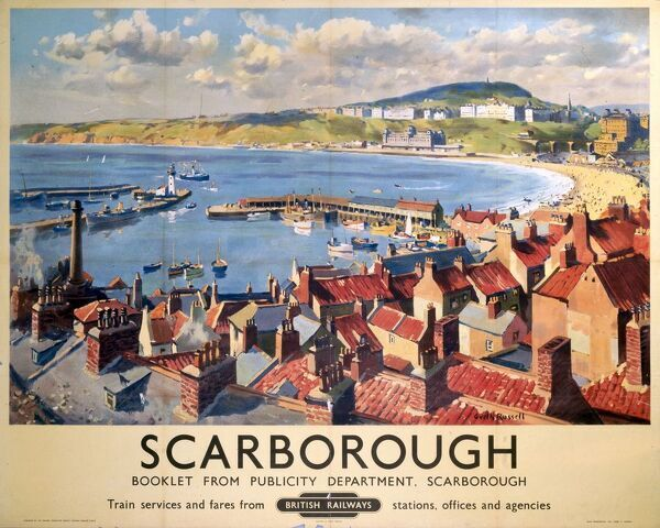 Poster produced for British Railways (BR) to promote rail travel to Scarborough in Yorkshire. The poster shows a view of the town and seafront. Artwork by Gyrth Russell (1892-1970)