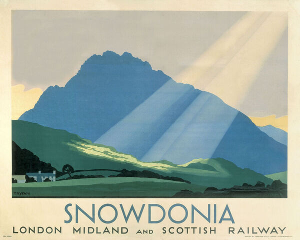 Poster produced for the London Midland & Scottish Railway (LMS) to promote rail travel to Snowdonia in Wales