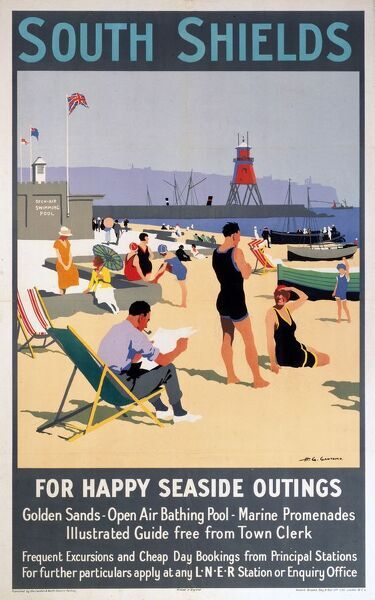 London & North Eastern Railway (LNER) poster showing the Tyneside resort of South Shields. Artwork by H G Gawthorn