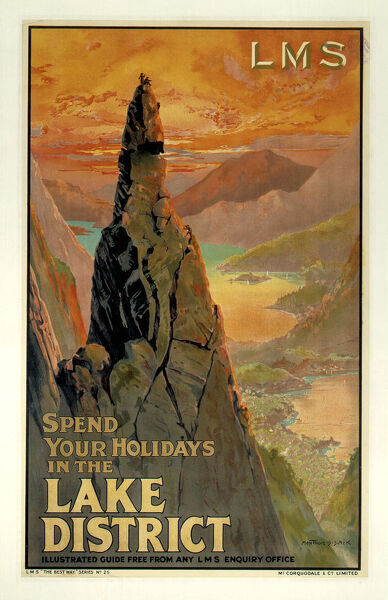 Poster produced for London, Midland & Scottish Railway (LMR) to promote rail travel to the Lake District, Cumbria