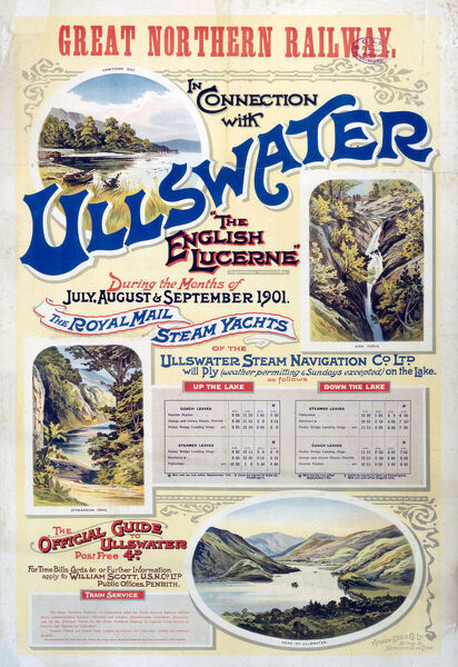 Poster produced for the Great Northern Railway promoting rail travel to Ullswater, Cumbria, in the Lake District, showing a series of views of Howtown Bay, Aira Force, Stybarrow Crag and the Head of Ullswater