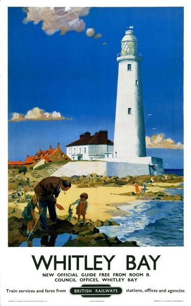Poster produced for British Railways (BR) to promote train services to Whitley Bay, Tyne and Wear. Artwork by F Donald Blake