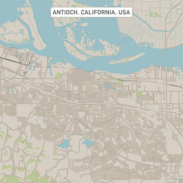 Prints of Antioch California US City Street Map #15055061