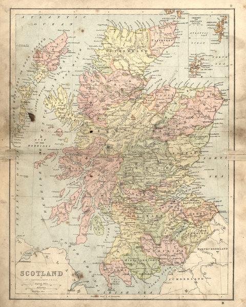 picture regarding Printable Map of Scotland identify 22x18 (56x46cm) Framed Print of Antique broken map of Scotland within just the 19th Century