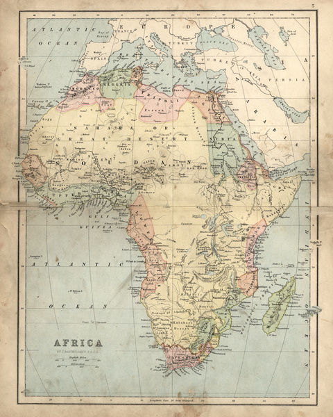 19th Century Africa Map.Prints Of Antique Map Of Africa In The 19th Century 1873 13609255