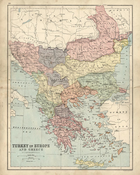Turkey On Europe Map.Antique Map Of Greece And Turkey In Europe 19th Century Vintage