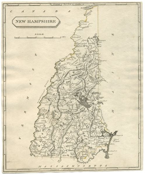 Antique Map Of New Hampshire Usa 19th Century 1819 This Is A