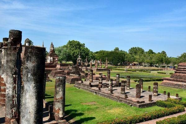 archeologic site at Wat Mahathat temple Sukhothai Thailand, Asia