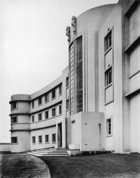 circa 1935: A view of the front elevation of the Midland Hotel in Morecambe, Lancashire
