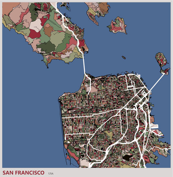 Art Illustration Of San Francisco City Map Framed And Canvas