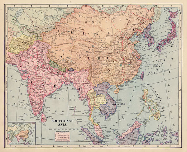 1892 Map Of The World.Asia Map 1892 Frye Grammar School Geography 1892 Photo Prints