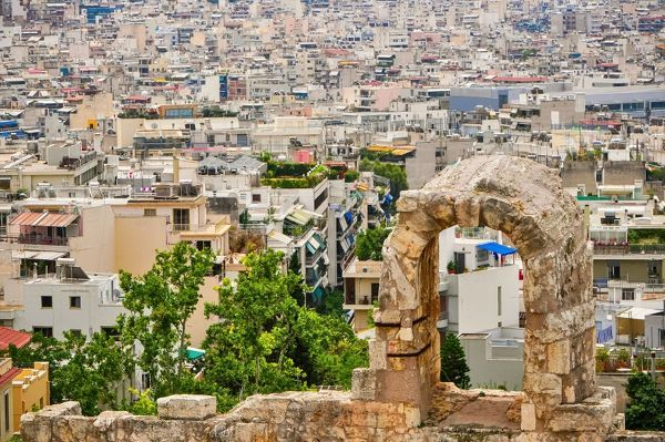 Athens through theatre of Dionysus window, Greece