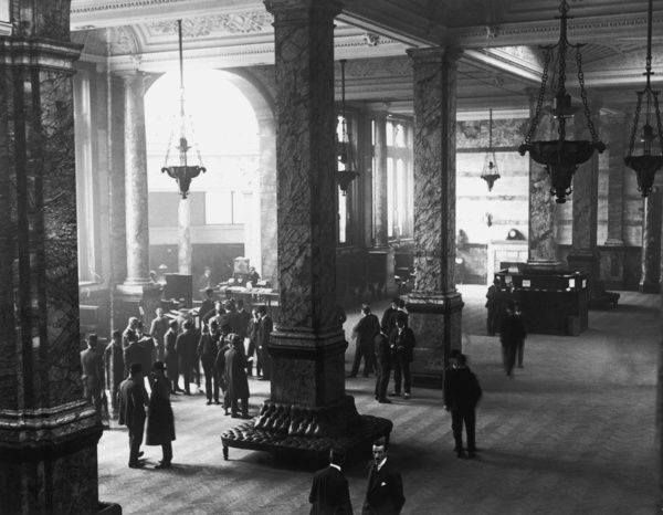 Baltic Interior. The interior of the Baltic Exchange in London, 3rd May 1920