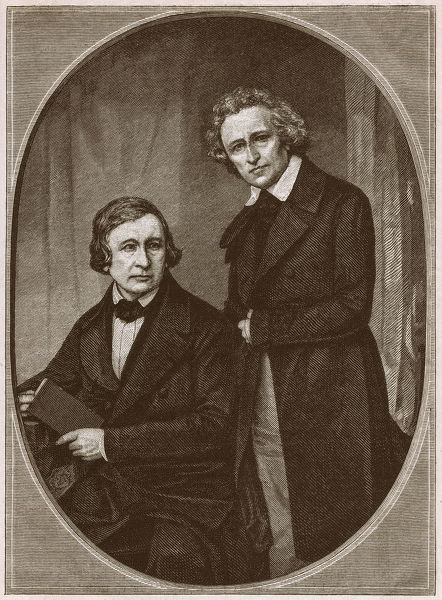 The Brothers Wilhelm and Jacob Grimm. They are among the best-known story tellers of folk tales from Europe. Wood engraving, published in 1879