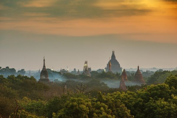burma, temple, culture, sunrise, heritage, asian, site, destination, air, hot, balloons, view, beautiful, over, temples, religious, background, Supoj Buranaprapapong Travel Photography, Hot Air Balloons, 639951346