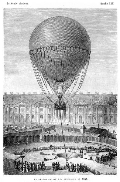 Captive balloon at the Tulleries engraving 1881