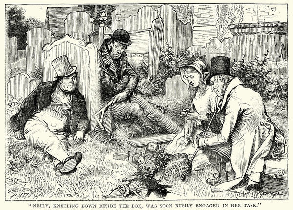 Vintage engraving showing a scene from Charles Dickens's novel The Old Curiosity Shop . Nelly, kneeling down beside the box, was soon busily engaged in her task