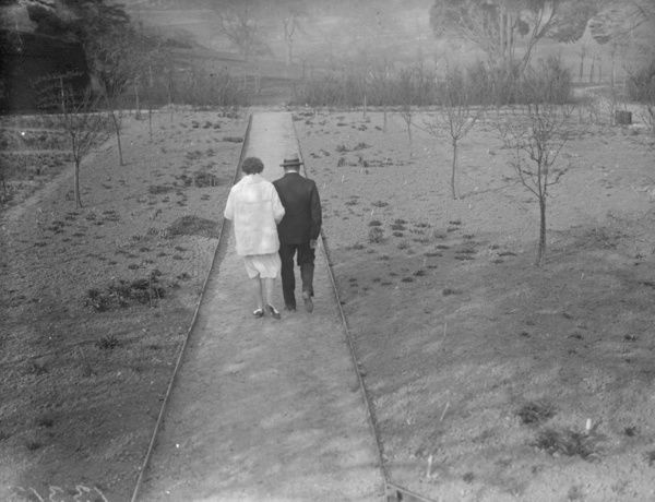 April 1929: Winston Churchill taking a stroll in the gardens at Westerham, Kent. (Photo by Fox Photos/Getty Images)