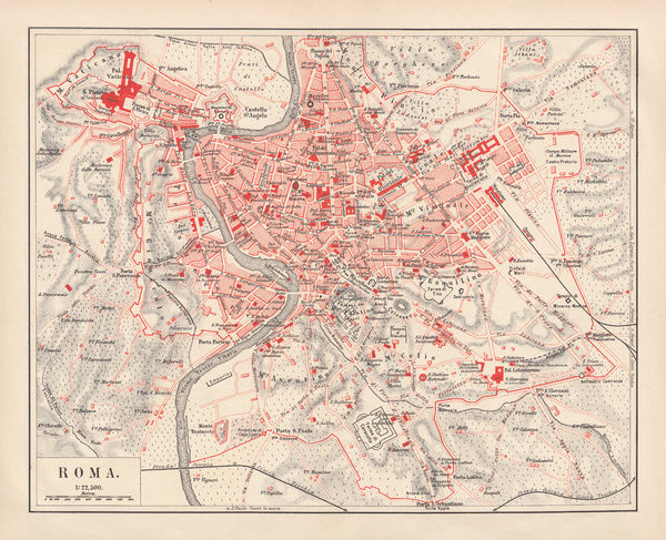 City map of Rome, Italy. Lithograph, published in 1878