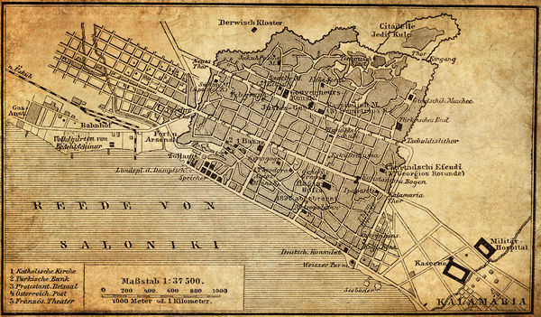 City map of Thessaloniki Greece Illustration of a city map of