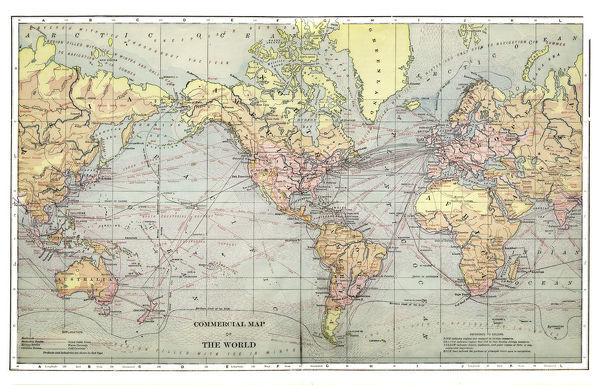 1892 Map Of The World.Prints Of Commercial Map Of The World 1892 14756002