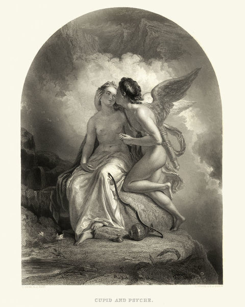 cupid and psyche vintage engraving of cupid and psyche a story