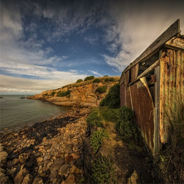 Derelict boat-shed on the coastline at Hillgrove, New Zealand, south island