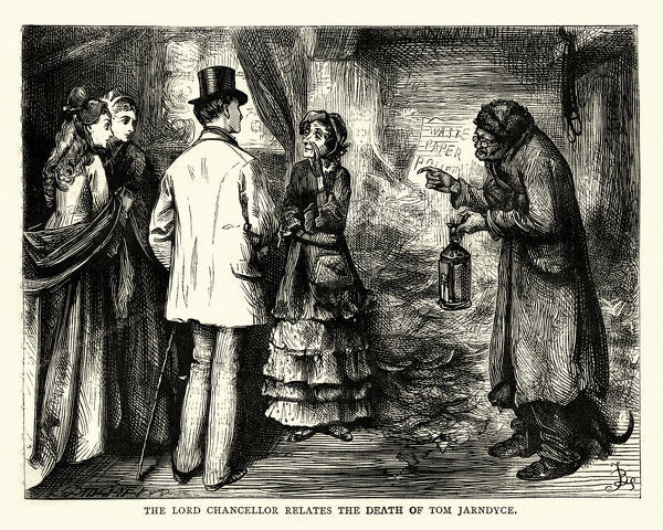 Vintage engraving of a scene from the Charles Dickens novel Bleak House. The Lord Chancellor relates the death of Tom Jarndyce Illustration by Fred Barnard