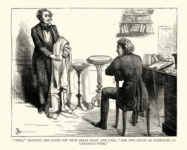 Vintage engraving of a scene from the Charles Dickens novel David Copperfield. Here, drawing the cloth off with great pride and care, are two pieces of furniture to commence with. llustration by Fred Barnard
