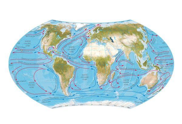 World Map With Currents.Digital Illustration Of World Map Showing Ocean Currents Photo