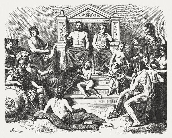 The Greek gods in the Olymp. Greek mythology. Wood engraving, published in 1880