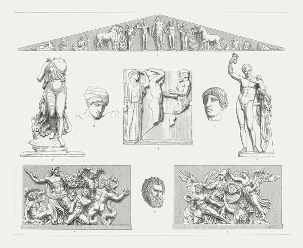 Greek sculpture art (Olympia and Pergamon), wood engravings, published 1897