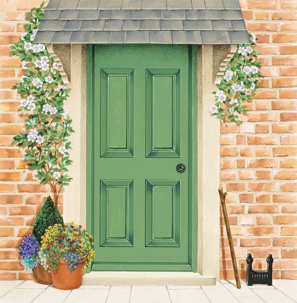 Green Front Door With Climbers Around Frame And Potted