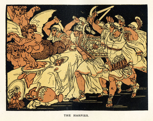 The Harpies a scene from Virgil's Aeneid