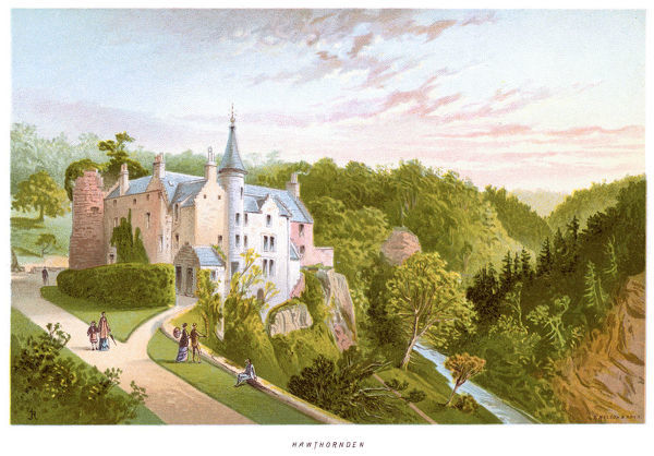 'Vintage print of Hawthornden Castle located on the River North Esk in Midlothian, Scotland