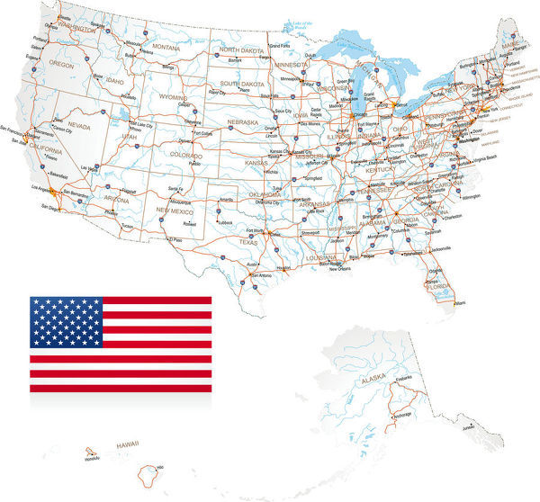 USA - Road Map - Highly detailed map of United States with roads ...