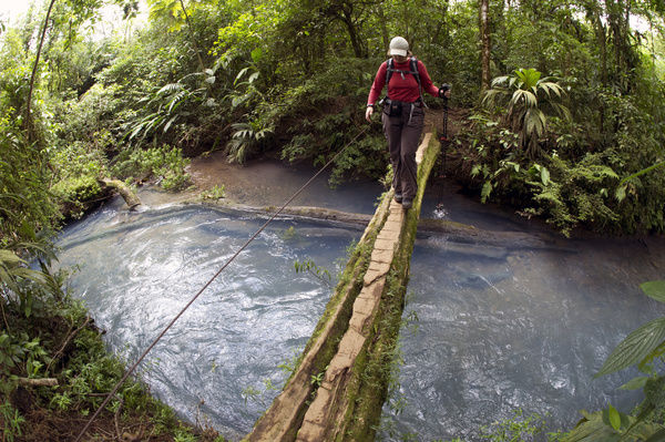 Hiker crossing the Rio Celeste on a wooden bridge, Tenorio National Park, Guanacaste, Costa Rica, Central America