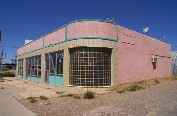 A historic building with Art Deco influences on Historic Route 66 in Tucumcari, New Mexico. Tucumcari is a major attraction for Route 66 tourists in New Mexico