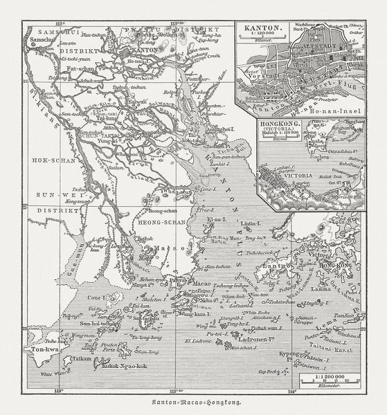 Historical map of the Pearl River Delta, woodcut ...