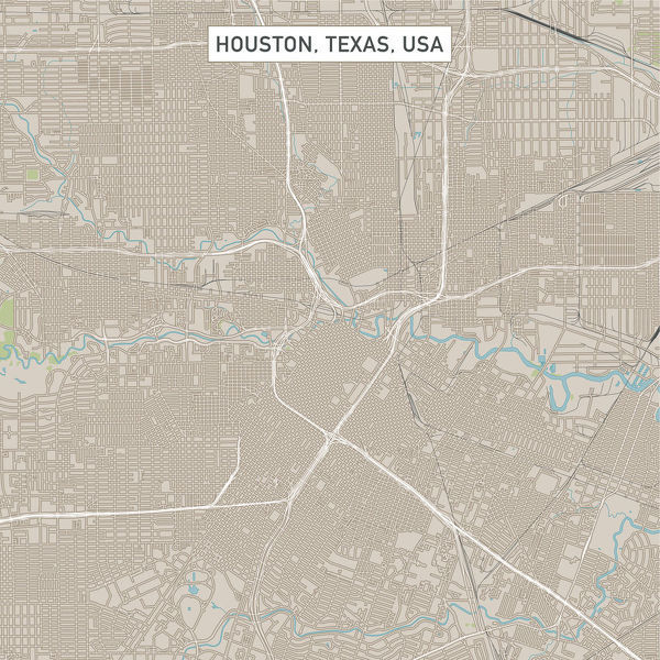 Vector Illustration of a City Street Map of Houston, Texas, USA. Scale 1:60,000.  All source data is in the public domain.  U.S. Geological Survey, US Topo  Used Layers:  USGS The National Map: National Hydrography Dataset (NHD)  USGS The National Map